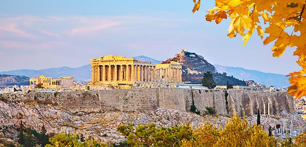 Blick auf den Akropolis und den Parthenon Tempel