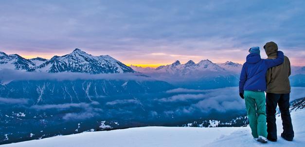 Romantische Ausblick über den Bergen