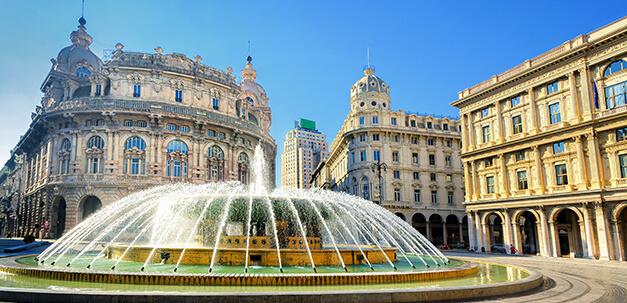 Der Piazza Ferrari ist einer der schönsten Plätze Genuas