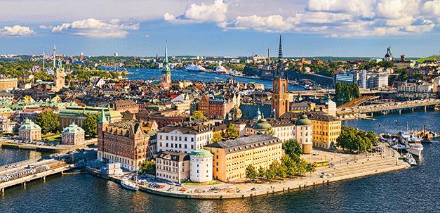 Aussicht auf die tolle Stadt Stockholm